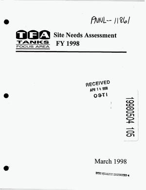 Primary view of object titled 'Tanks Focus Area site needs assessment FY 1998'.
