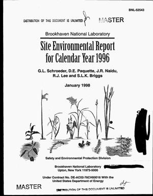 Primary view of object titled 'Brookhaven National Laboratory site environmental report for calendar year 1996'.