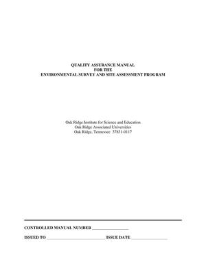 Primary view of object titled 'Quality assurance manual for the environmental survey and site assessment program, Oak Ridge Institute for Science and Education'.