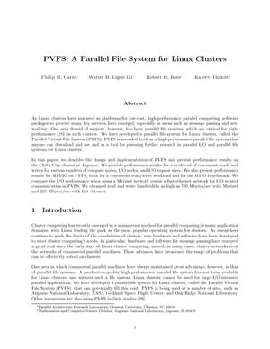 Primary view of object titled 'PVFS : a parallel file system for linux clusters'.