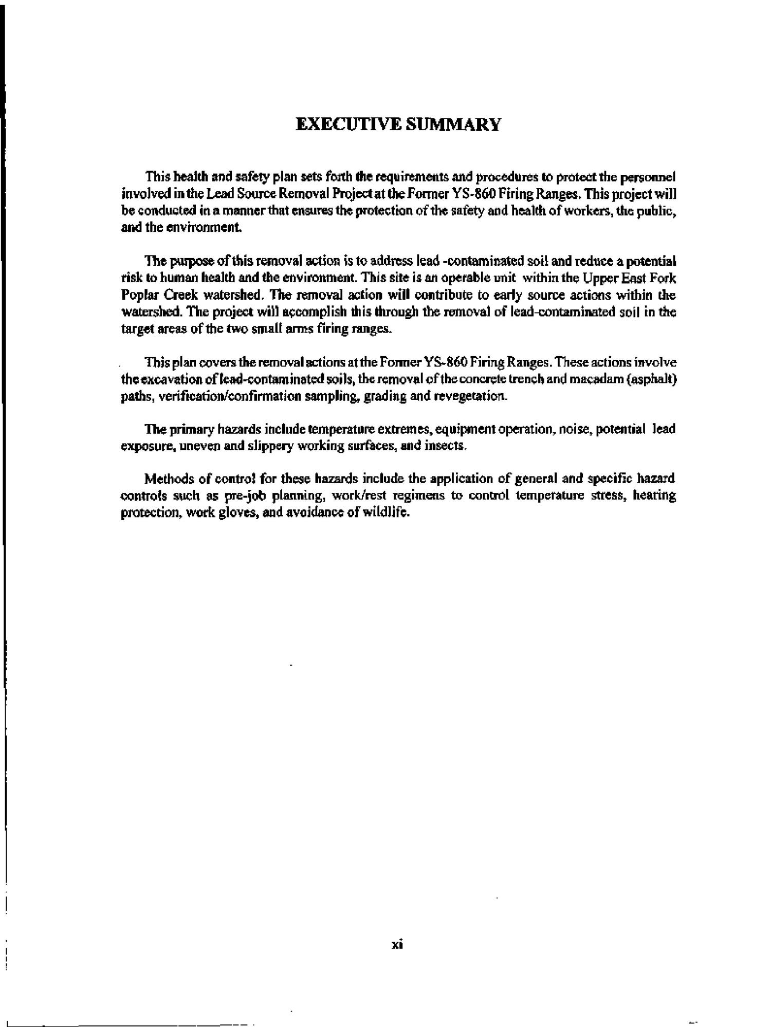 Health and safety plan for the removal action at the former YS-860 Firing Ranges, Oak Ridge Y-12 Plant, Oak Ridge, Tennessee                                                                                                      [Sequence #]: 10 of 52