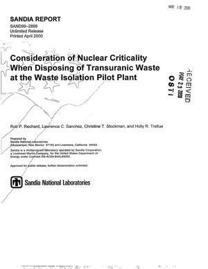 Primary view of object titled 'Consideration of nuclear criticality when disposing of transuranic waste at the Waste Isolation Pilot Plant'.
