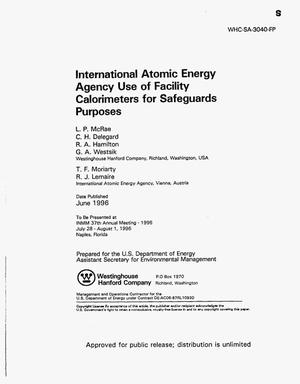Primary view of object titled 'International Atomic Energy agency use of facility calorimeters for safeguards purposes'.