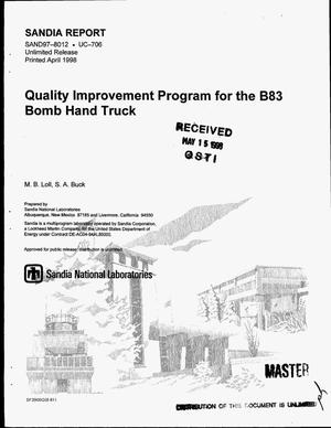 Primary view of object titled 'Quality improvement program for the B83 bomb hand truck'.