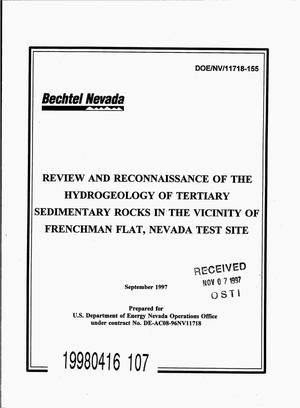 Primary view of object titled 'Review and reconnaissance of the hydrogeology of Tertiary sedimentary rocks in the vicinity of Frenchman Flat, Nevada Test Site'.