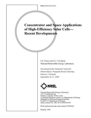 Primary view of object titled 'Concentrator and Space Applications of High-Efficiency Solar Cells-Recent Developments'.