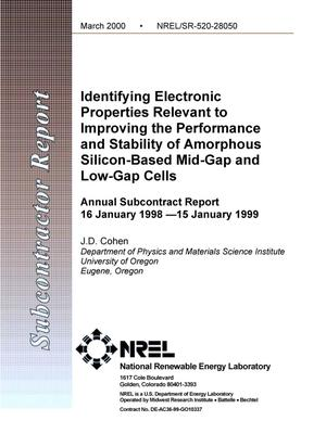 Primary view of object titled 'Identifying electronic properties relevant to improving the performance and stability of amorphous silicon-based mid-gap and low-gap cells: Annual subcontract report, 16 January 1998--15 January 1999'.
