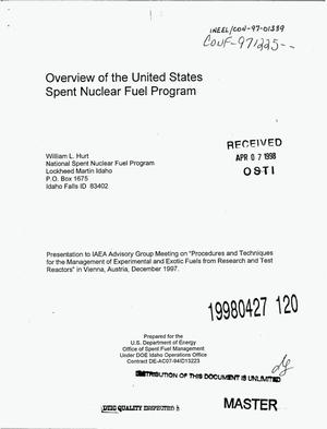Primary view of object titled 'Overview of the United States spent nuclear fuel program'.