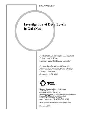 Primary view of object titled 'Investigation of Deep Levels in GaInNas'.