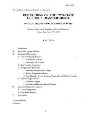 Primary view of object titled 'REFLECTIONS ON THE TWO-STATE ELECTRON TRANSFER MODEL.'.