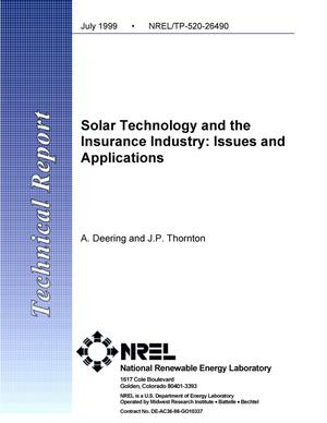 Primary view of object titled 'Solar technology and the insurance industry: Issues and applications'.