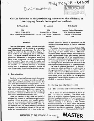 Primary view of object titled 'On the influence of the partitioning schemes on the efficiency of overlapping domain decomposition methods'.