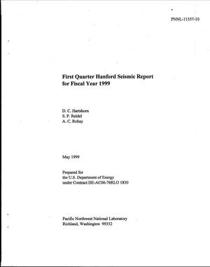 Primary view of object titled 'First Quarter Hanford Seismic Report for Fiscal Year 1999'.