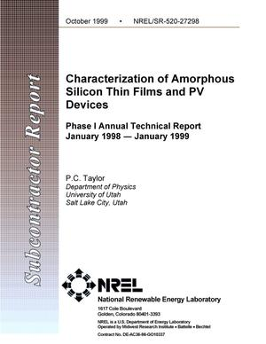 Primary view of object titled 'Characterization of amorphous silicon thin films and PV devices: Phase 1 annual technical report: January 1998--January 1999'.