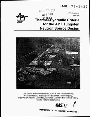 Primary view of object titled 'Thermal-hydraulic criteria for the APT tungsten neutron source design'.