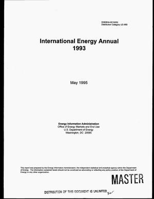 Primary view of object titled 'International energy annual, 1993'.