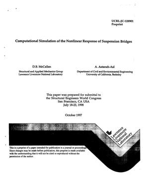 Primary view of object titled 'Computation simulation of the nonlinear response of suspension bridges'.
