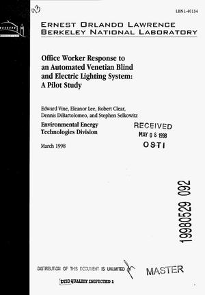 Primary view of object titled 'Office worker response to an automated venetian blind and electric lighting system: A pilot study'.