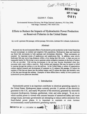 Primary view of object titled 'Efforts to Reduce the Impacts of Hydroelectric Power Production on Reservoir Fisheries in the United States.'.