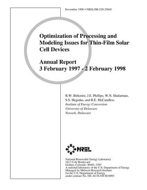 Primary view of object titled 'Optimization of Processing and Modeling Issues for Thin-Film Solar Cell Devices; Annual Report, 3 February 1997-2 February 1998'.