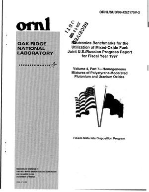 Primary view of object titled 'Neutronics Benchmarks for the Utilization of Mixed-Oxide Fuel: Joint U.S./Russian Progress Report for Fiscal Year 1997, Volume 4, Part 7 - Homogeneous Mixtures of Polystyrene-Moderated Plutonium and Uranium Oxides'.
