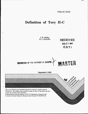 Primary view of object titled 'Definition of Tory II-C'.