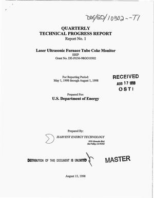 Primary view of object titled 'Laser ultrasonic furnace tube coke monitor. Quarterly technical progress report No. 1, May 1--August 1, 1998'.