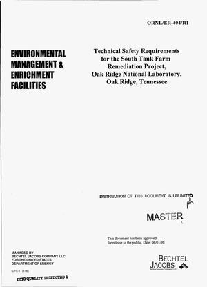 Primary view of object titled 'Technical safety requirements for the South Tank Farm remediation project, Oak Ridge National Laboratory, Oak Ridge, Tennessee'.