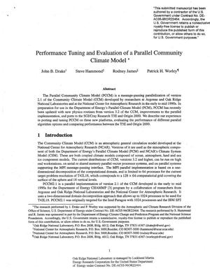 Primary view of object titled 'Peformance Tuning and Evaluation of a Parallel Community Climate Model'.
