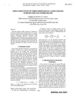 Primary view of object titled 'SIMULATION STUDY OF THREE-DIMENSIONAL LASER COOLING SCHEMES FOR FAST STORED BEAMS'.