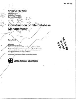 Primary view of object titled 'Construction of file database management'.