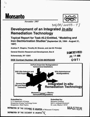 Primary view of object titled 'Development of an integrated in-situ remediation technology. Topical report for Task {number_sign}3.2 entitled, ``Modeling and iron dechlorination studies`` (September 26, 1994--August 31, 1997)'.