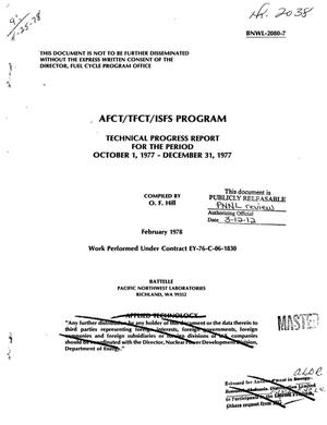 Primary view of object titled 'AFCT/TFCT/ISFS Program. Technical progress report for the period October 1, 1977--December 31, 1977'.