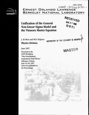 Primary view of object titled 'Unification of the general non-linear sigma model and the Virasoro master equation'.