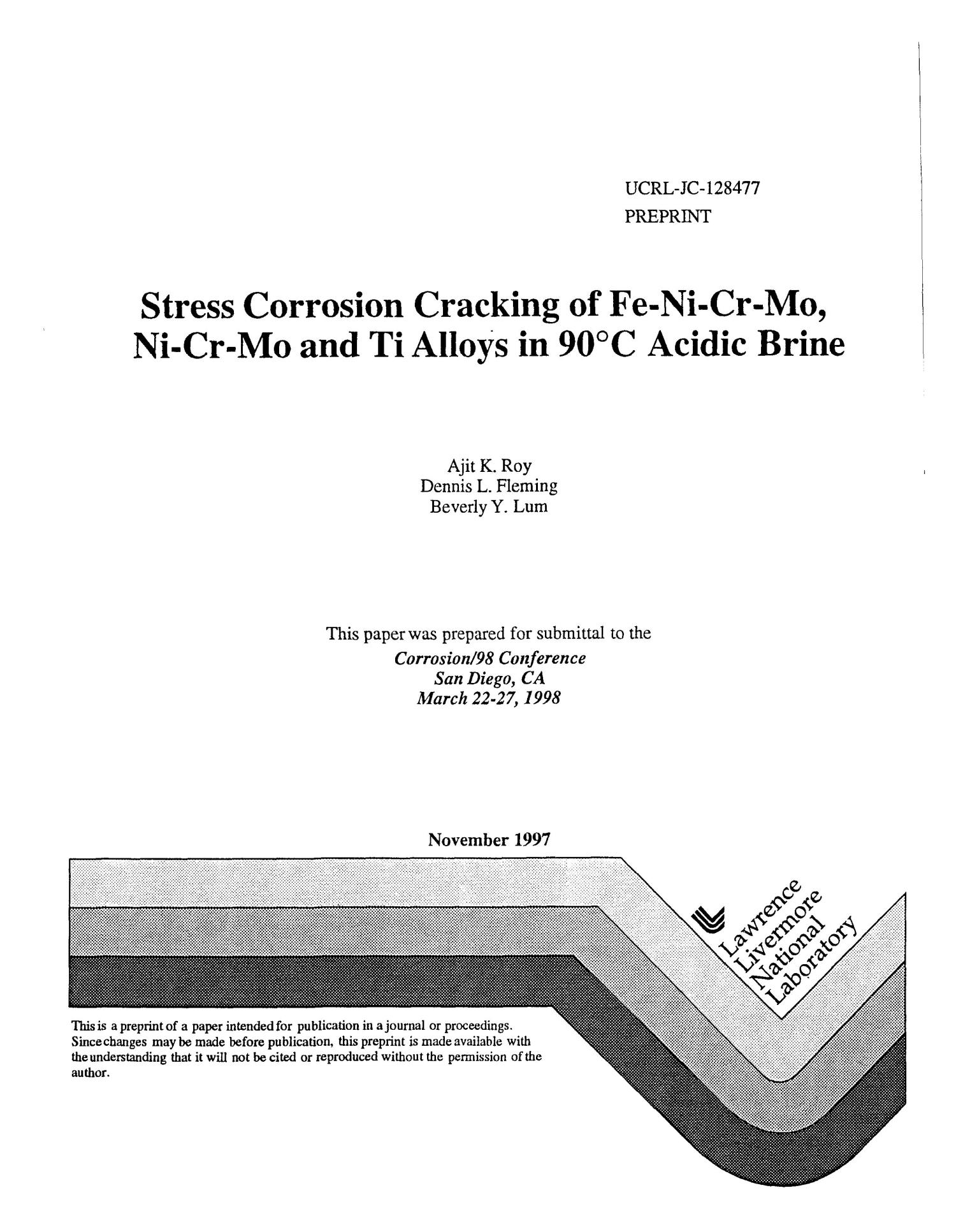 Stress Corrosion Cracking Of Fe Ni Cr Mo And Ti Alloys In