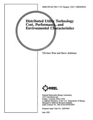 Primary view of object titled 'Distributed utility technology cost, performance, and environmental characteristics'.