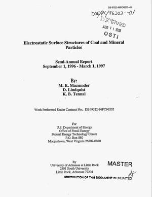 Primary view of object titled 'Electrostatic surface structures of coal and mineral particles. Semi-annual report, September 1, 1996--March 1, 1997'.