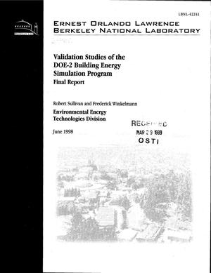 Primary view of object titled 'Validation studies of the DOE-2 Building Energy Simulation Program. Final Report'.