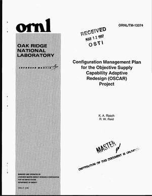 Primary view of object titled 'Configuration management plan for the Objective Supply Capability Adaptive Resdesign (OSCAR) project'.