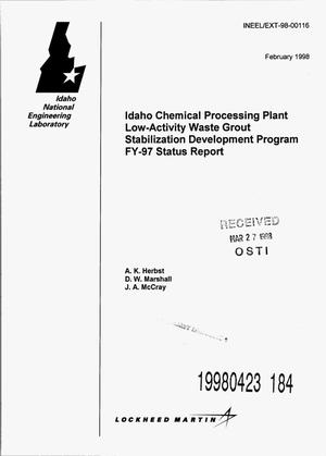 Primary view of object titled 'Idaho Chemical Processing Plant low-activity waste grout stabilization development program FY-97 status report'.