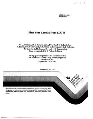 Primary view of object titled 'First year results from LOTIS'.