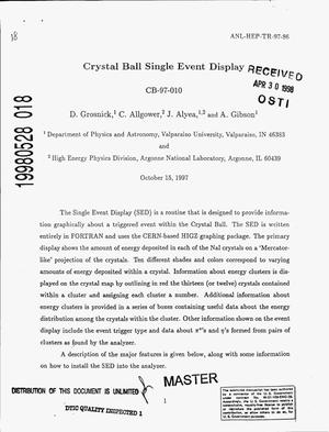 Primary view of object titled 'Crystal ball single event display'.