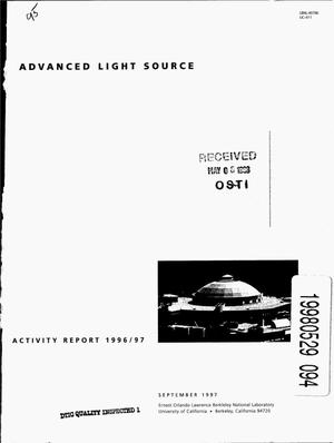 Primary view of object titled 'Advanced Light Source activity report 1996/97'.