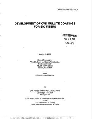 Primary view of object titled 'Development of CVD Mullite Coatings for SiC Fibers'.