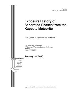 Primary view of object titled 'Exposure History of Separated Phases from the Kapoeta Meteorite'.