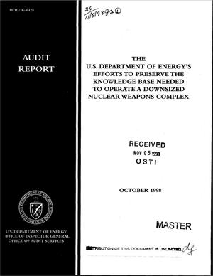 Primary view of object titled 'Office of Inspector General audit report on ``The U.S. Department of Energy`s efforts to preserve the knowledge base needed to operate a downsized nuclear weapons complex``'.