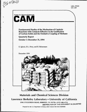 Primary view of object titled 'Fundamental studies of the mechanism of catalytic reactions with catalysts effective in the gasification of carbon solids and the oxidative coupling of methane. Quarterly report, October 1, 1994--December 31, 1994'.