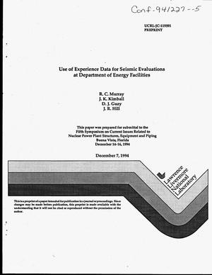 Primary view of object titled 'Use of experience data for seismic evaluations at Department of Energy facilities'.