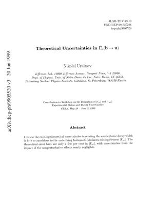 Primary view of object titled 'Theoretical uncertainties in {Gamma}{sub sl}(b {r_arrow} u)'.