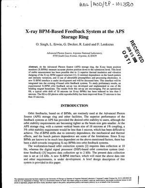 Primary view of object titled 'X-ray BPM-based feedback system at the APS storage ring'.
